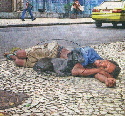 Obdachloser mit Hund